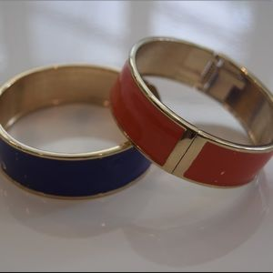 NWOT Set of 2 Orange and Blue Bangles with Gold